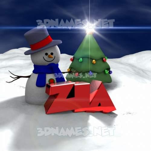 Happy Xmas 3D Name for zia