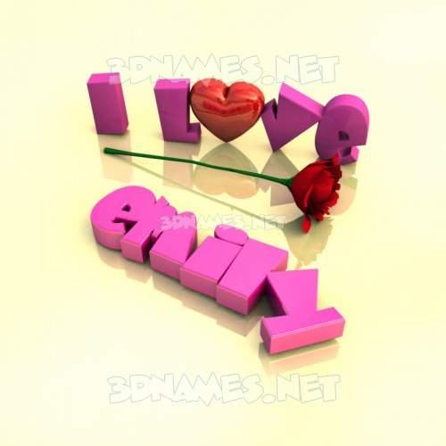 I Love ??? 3D Name for emily