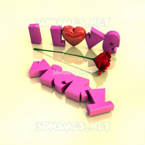 I Love ??? 3D Name for vicky