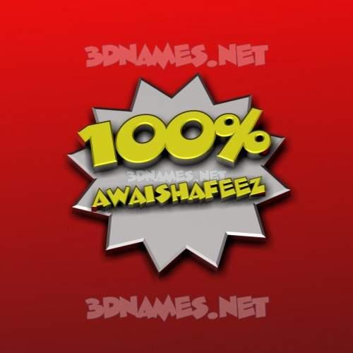 100 Percent 3D Name for awaishafeez