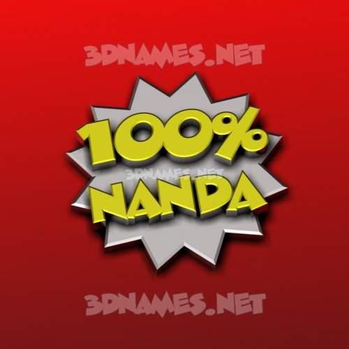 100 Percent 3D Name for nanda