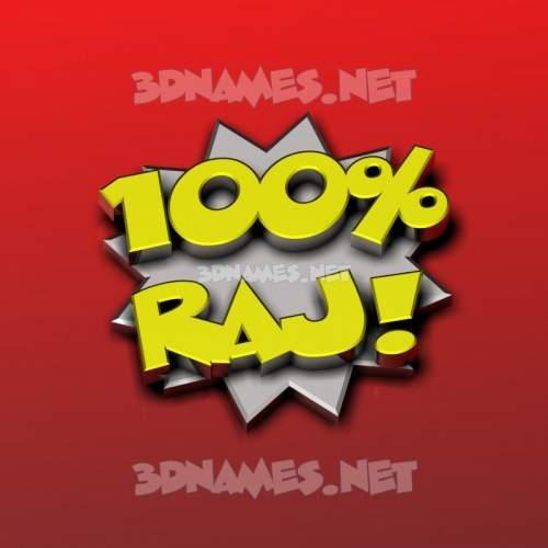 100 Percent 3D Name for raj