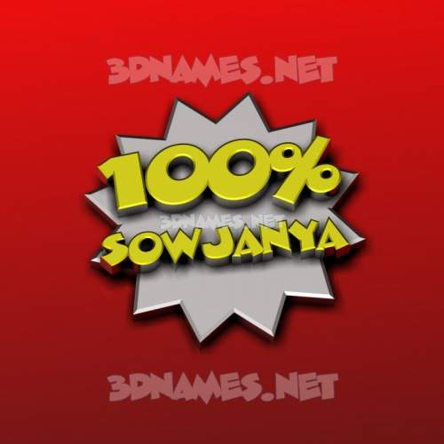 100 Percent 3D Name for sowjanya