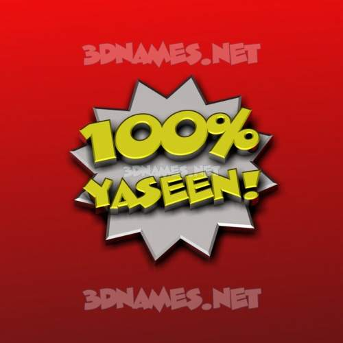 100 Percent 3D Name for yaseen