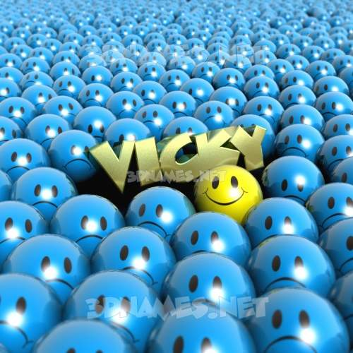 Special Smileys 3D Name for vicky