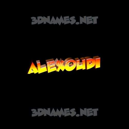 Black Background 3D Name for alexoudi
