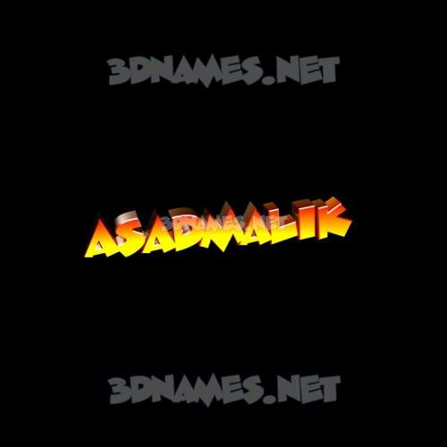 Black Background 3D Name for asadmalik