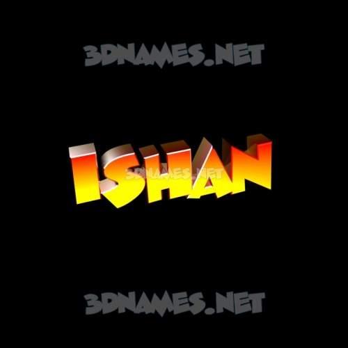 Black Background 3D Name for ishan