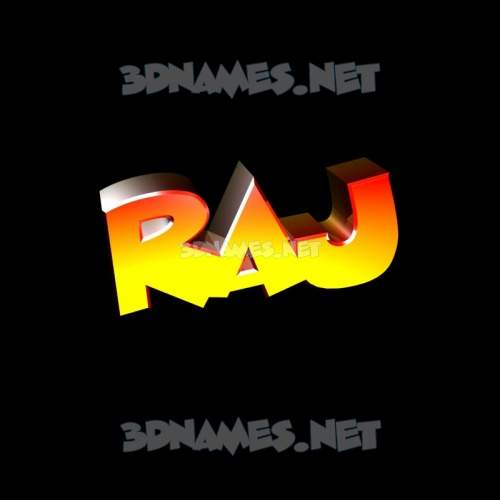 Black Background 3D Name for raj