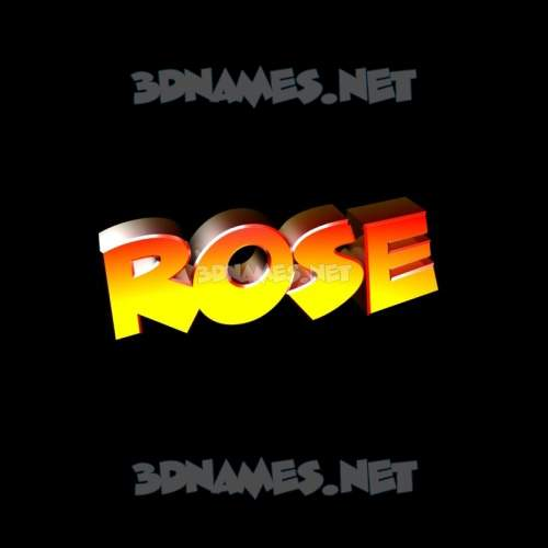 Black Background 3D Name for rose