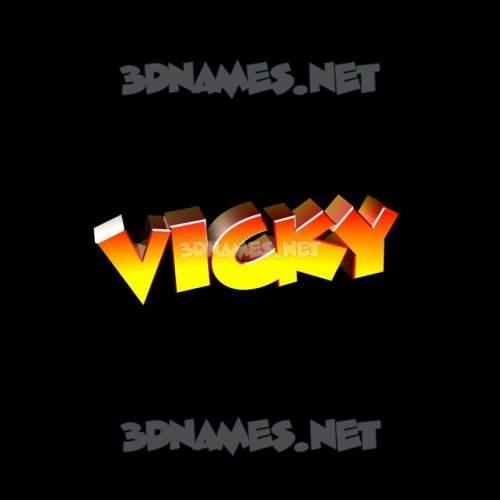Black Background 3D Name for vicky