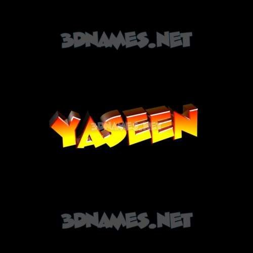 Black Background 3D Name for yaseen