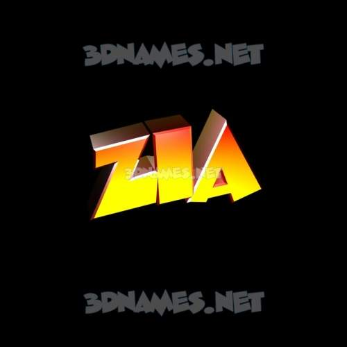 Black Background 3D Name for zia