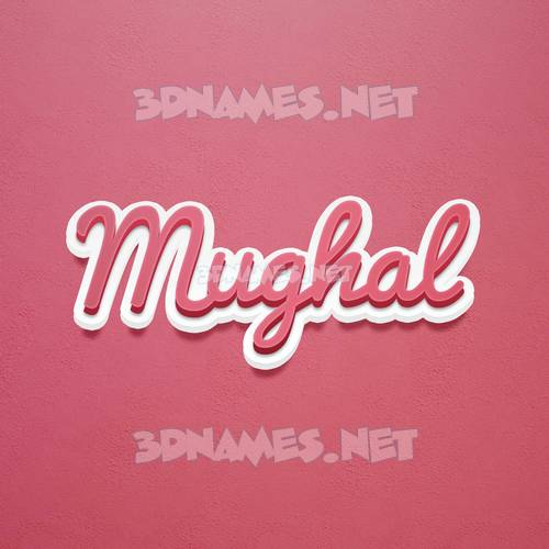 Red Scribble 3D Name for mughal