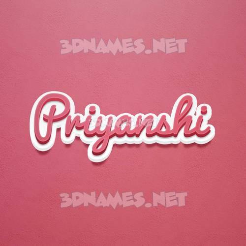Red Scribble 3D Name for priyanshi