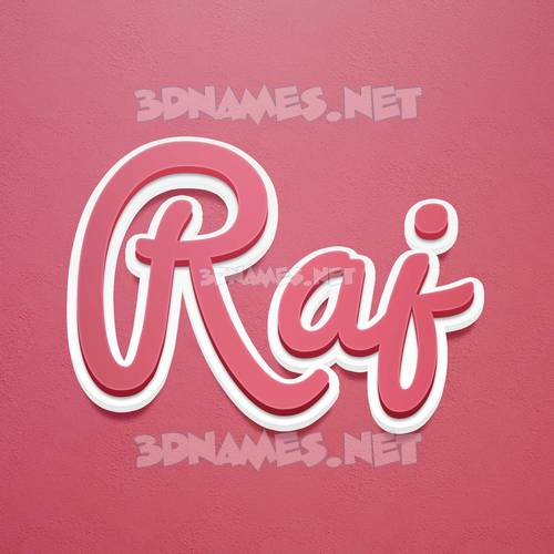 Red Scribble 3D Name for raj