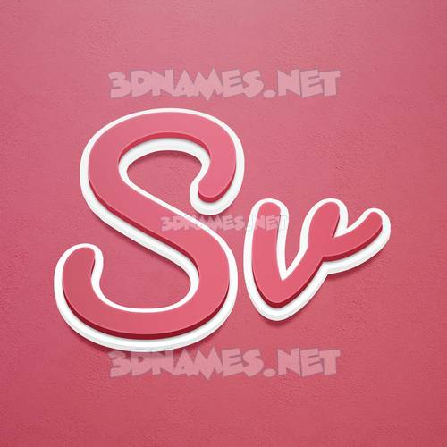 Red Scribble 3D Name for sv