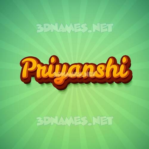 Green Rays 3D Name for priyanshi