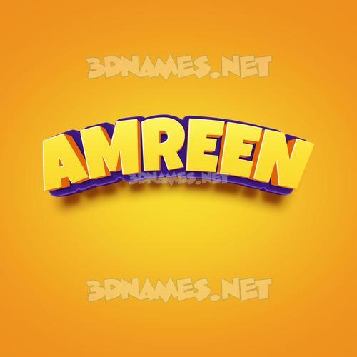 Orange Toon 3D Name for amreen