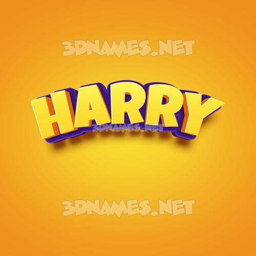 Orange Toon 3D Name for harry