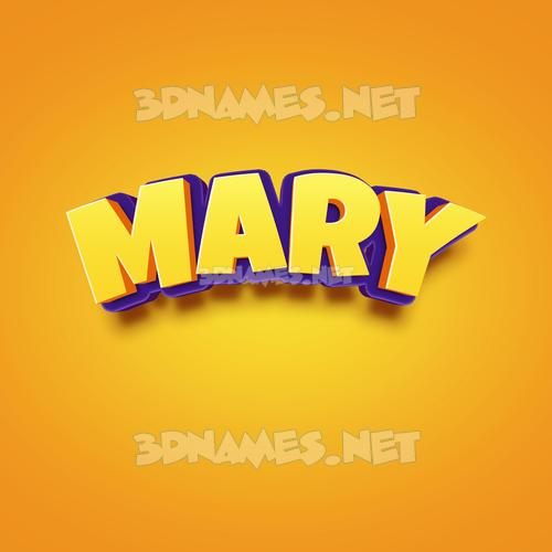 Orange Toon 3D Name for mary