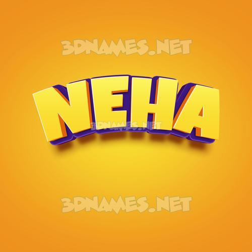 Orange Toon 3D Name for neha