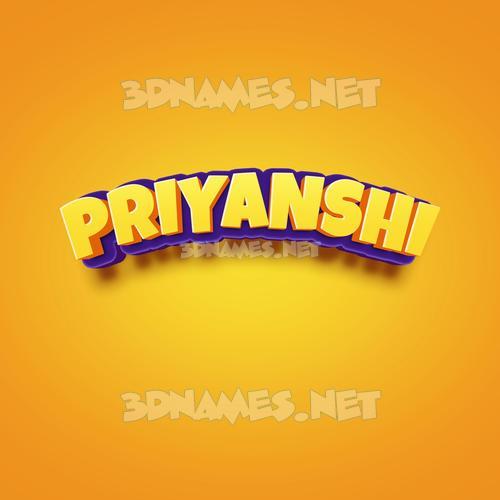 Orange Toon 3D Name for priyanshi
