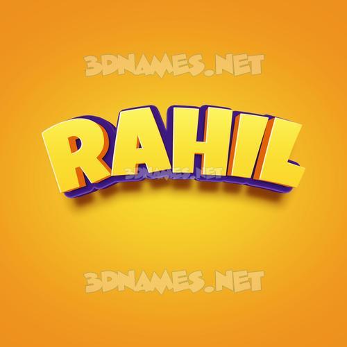 Orange Toon 3D Name for rahil
