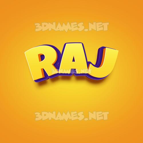 Orange Toon 3D Name for raj