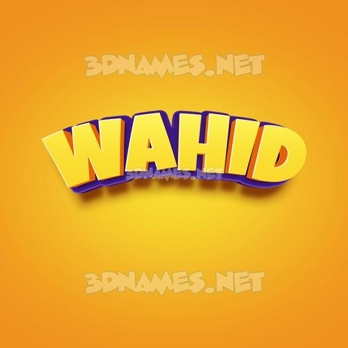 Orange Toon 3D Name for wahid