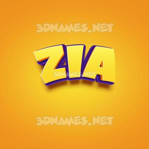 Orange Toon 3D Name for zia