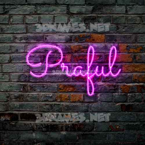 Pink Neon 3D Name for praful