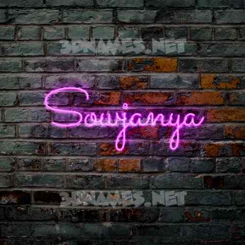Pink Neon 3D Name for sowjanya