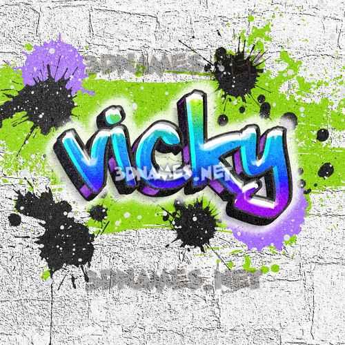 Graffiti Grunge 3D Name for vicky