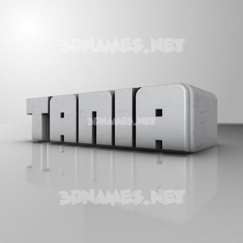White Metro 3D Name for tania