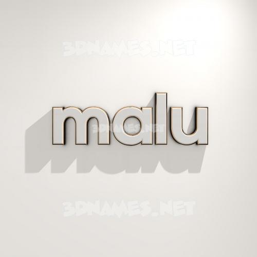 White Logo Warm 3D Name for malu