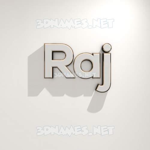 White Logo Warm 3D Name for raj