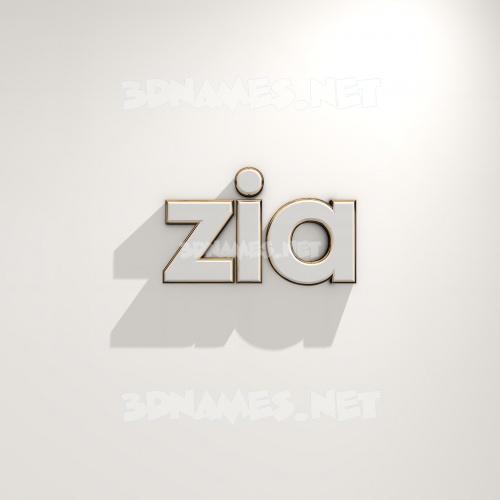 White Logo Warm 3D Name for zia