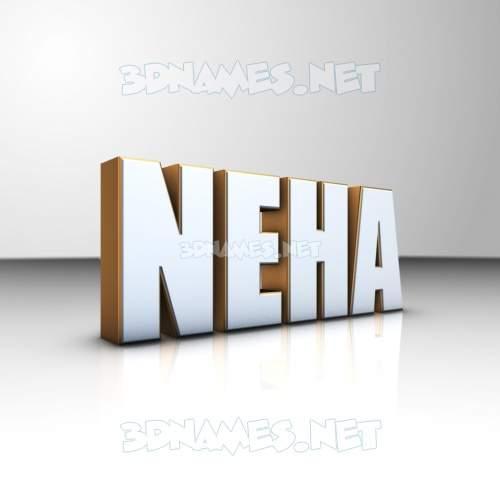 White'n'Gold 3D Name for neha