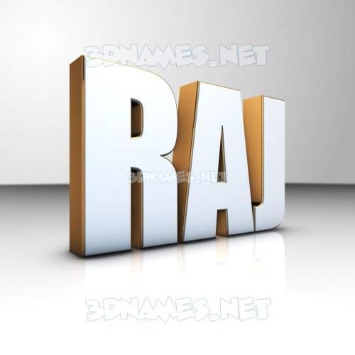 White'n'Gold 3D Name for raj