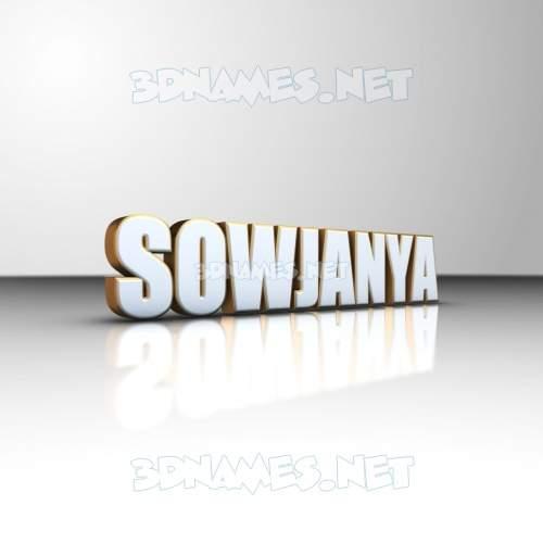 White'n'Gold 3D Name for sowjanya