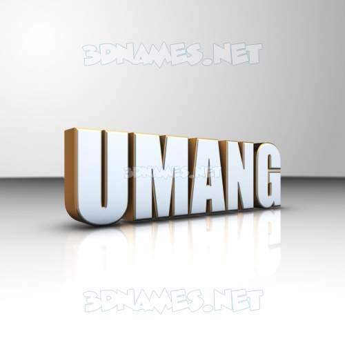 White'n'Gold 3D Name for umang